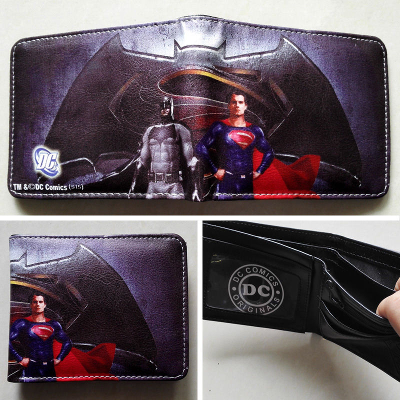 DC Comic Super Hero Superman vs batman wallet leather wallet two follder wallet purse W273 NEW oreimo comic anthology