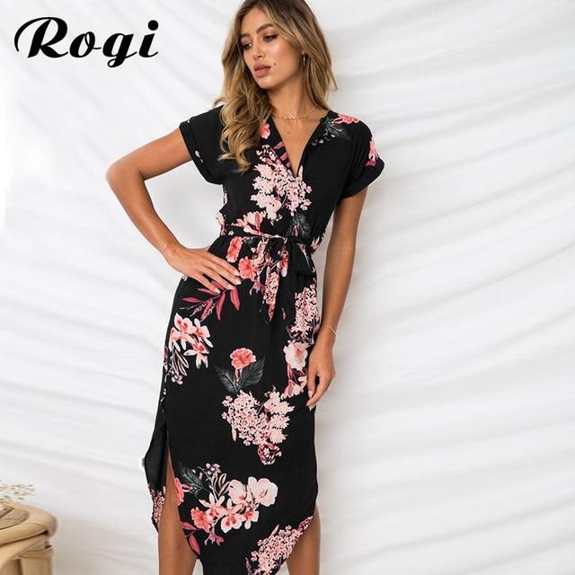 391c89b5ad3 Rogi Summer Dress Short Sleeve Casual Floral Printed Midi Dress Women V  Neck Boho Beach Dress Tunic Party Vestidos Robe Femme