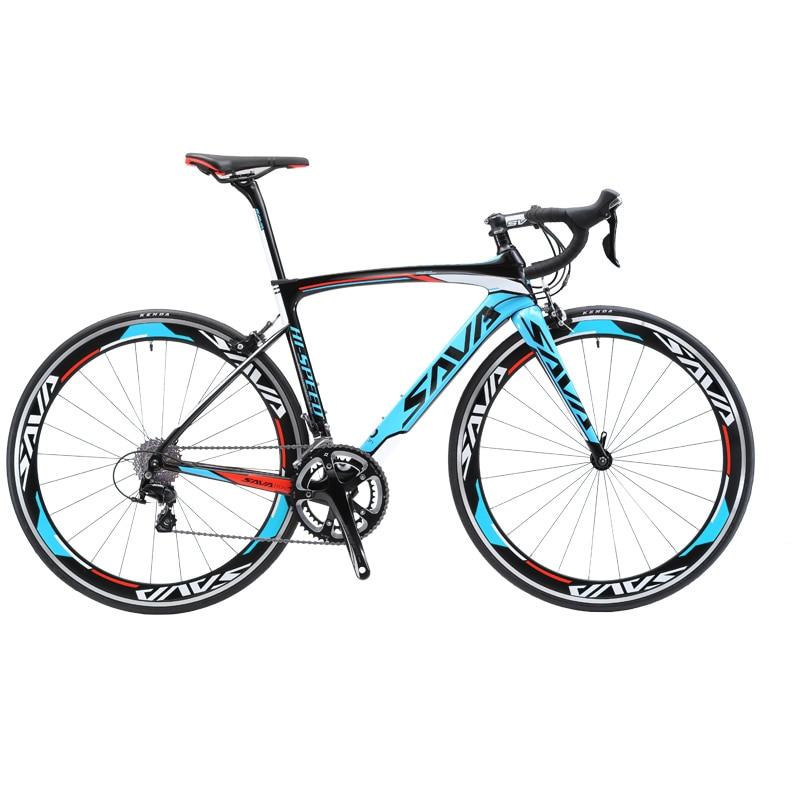 Карбоновый дорожный велосипед SAVA 700c, гоночный велосипед с карбоновой рамой/вилкой, велосипед с 18 скоростями и SHIMANO SORA R3000