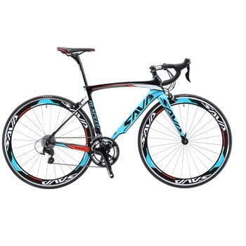 SAVA Road Bike 700c Carbon road bike Bicycle Racing Bike Speed Carbon frame/fork Bicycle 18 speed bike with SHIMANO SORA R3000