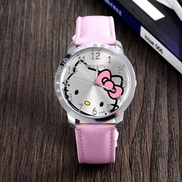 HelloKitty Clock Women Dress Watch Hello Kitty Cartoon Watches Quartz Pu Leather
