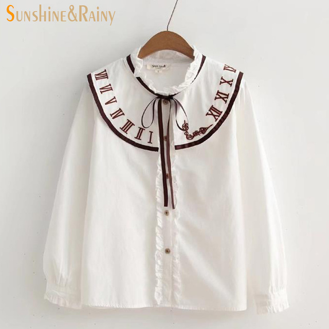 d4a634e852b5 autumn women clock embroidery collar shirt bow white blouse sweet female  long sleeve shirts peter pan