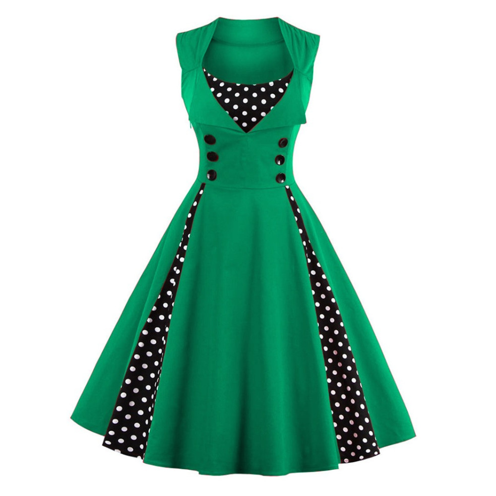 S-5XL Wanita Robe Pin Up Dress Retro 2018 Vintage 50s 60s Rockabilly - Pakaian wanita - Foto 5
