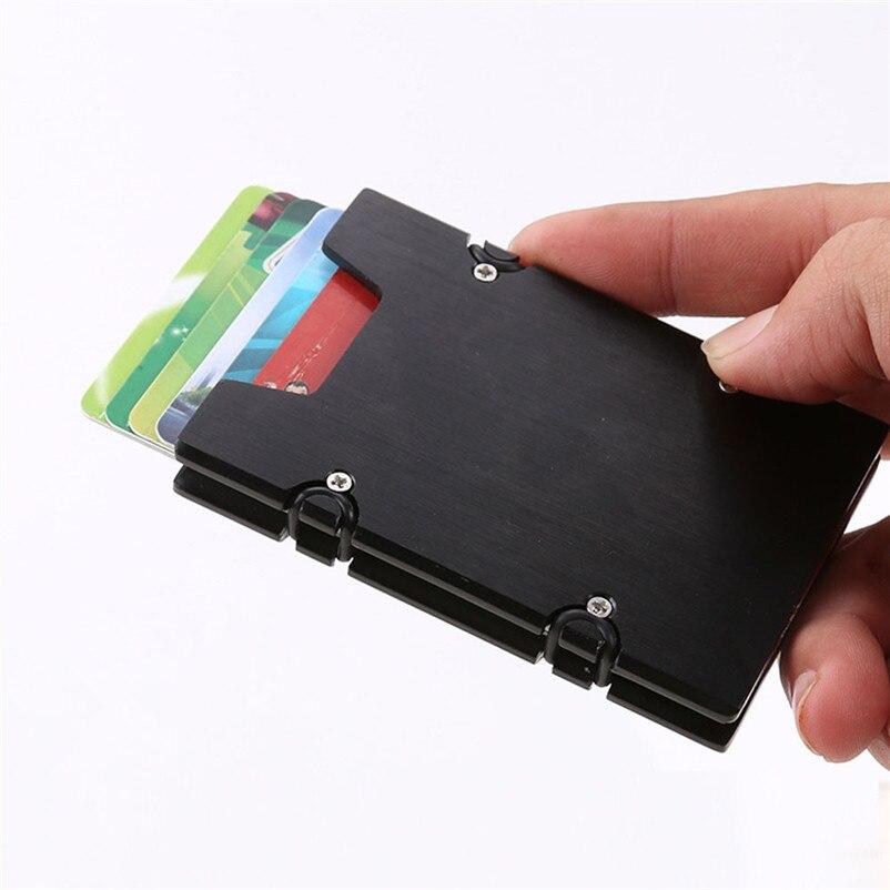 Men and Women Minimalist Metal Wallets Slim Mini Business Card Holder Aluminum Credit Ca ...