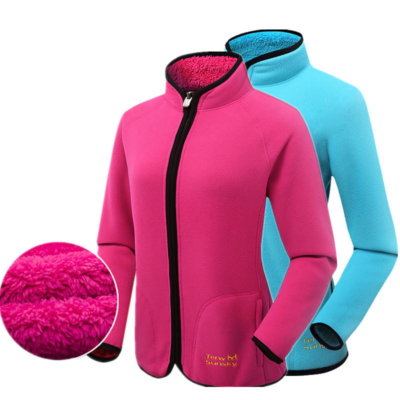 Hot Winter Outdoor Double Side Fleece Women Jacket Cold Resistance Camping Climbing Thickening Wool Female Hiking