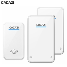 CACAZI newest waterproof LED wireless doorbell AC 100-240V EU/US/UK plug door bell 300M remote 48 rings 6 volume door chime cacazi wireless door bell waterproof battery 2 transmitter 3 receiver us eu uk au plug home bell wireless chime ring bell