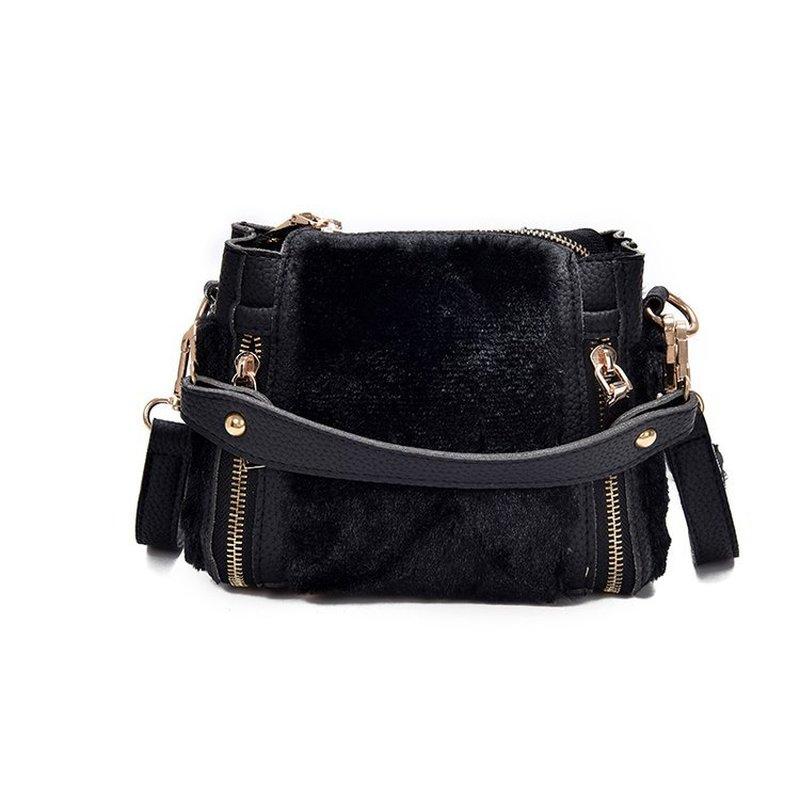 2018 Women Luxury Messenger Bag Fur Leather Bucket Patchwork Rivet Small Shoulder Bags Winter Bolsa New Spring Handbags Ladies triangle print patchwork organizer bucket