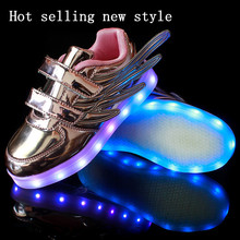2016 autumn and winter fashion glossy purple wings hot new boys and girls led schoenen kinderen USB charging shine a light