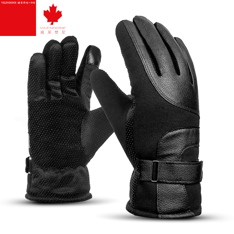 Leather touch screen thickening thermal winter motorcycle gloves male outdoor cycling gloves motorcycle winter gloves