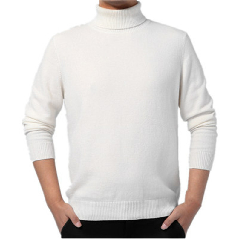 New Arrival 100%goat Cashmere Knit Men Fashion Turtleneck Pullover Sweater H-straight Light Grey 3color XS/2XL