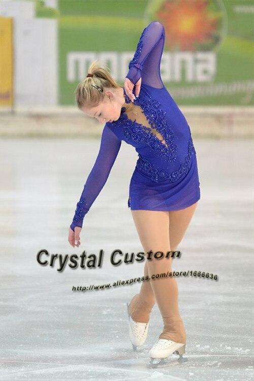 Blue Ice Figure Skating Dress For Kids Fashion New Brand Competition Figure Skating Dresses Crystal Custom DR3637