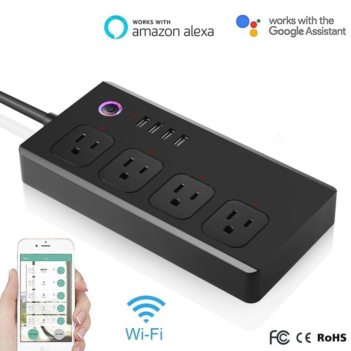 WiFi Power Strip,Surge Protector Smart 4 Outlet Plug Voice Controlled by Amazon Echo Dot,Wireless Remote Control,4 USB Ports
