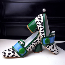 Shoes female high-heeled genuine leather horsehair single shoes leopard print women's shoes new arrival square toe thick heel