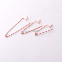 50pcs 45/35/30mm Rose gold Color unique Design metal Safety pins Decorative  Garment Pins