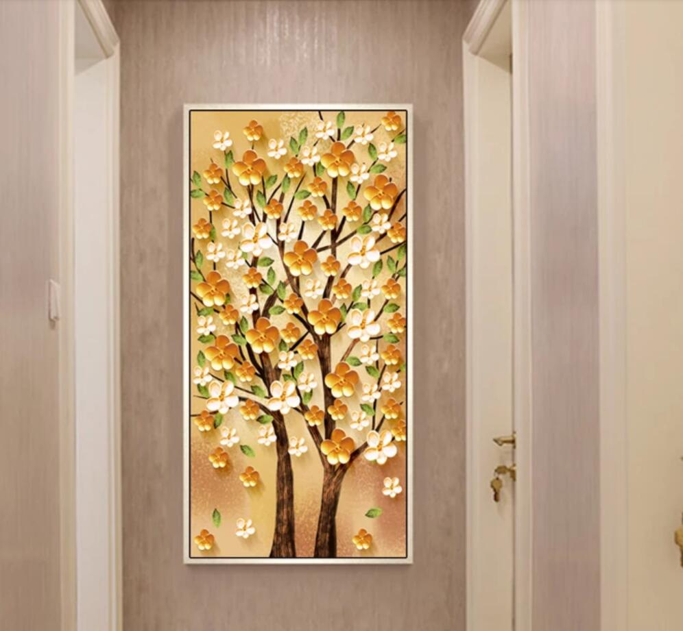 3D Embossed Cherry Blossom flower Photo Mural floral Wallpaper Wall ...