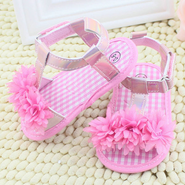 Summer Sandals Chic Baby Girl Floral Crib Soft Sole Antislip Cotton Shoes S01