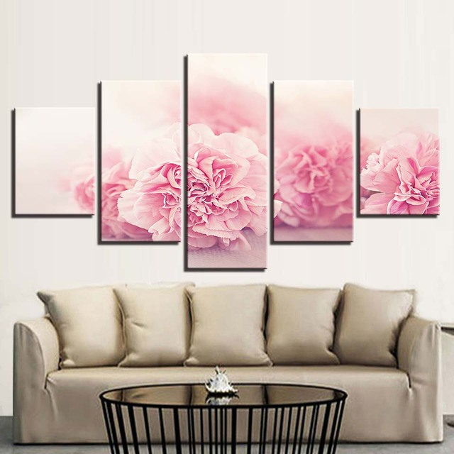Home Decor Canvas Paintings HD Prints 5 Pieces Pink Flowers Wall Art Bedside Background Modular Pictures Artwork Creative Poster