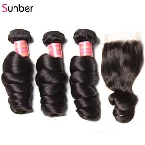 Image 3 - Sunber saç perulu gevşek dalga saç demetleri ile kapatma Remy insan saç örgüleri 16 26 inç 3 /4 demetleri ile kapatma