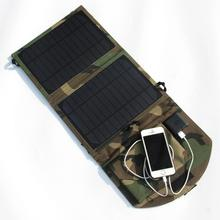 10W Portable Solar Panel Charger Solar Cell Charger For Mobile Phones/Power Bank Dual USB Output Camouflage Green Free Shipping
