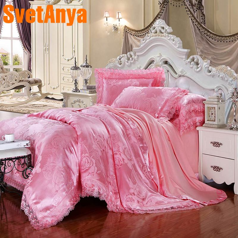 Svetanya pink Linens 6in1 4in1 jacquard Lace Bedding Set double Queen king sizeSvetanya pink Linens 6in1 4in1 jacquard Lace Bedding Set double Queen king size