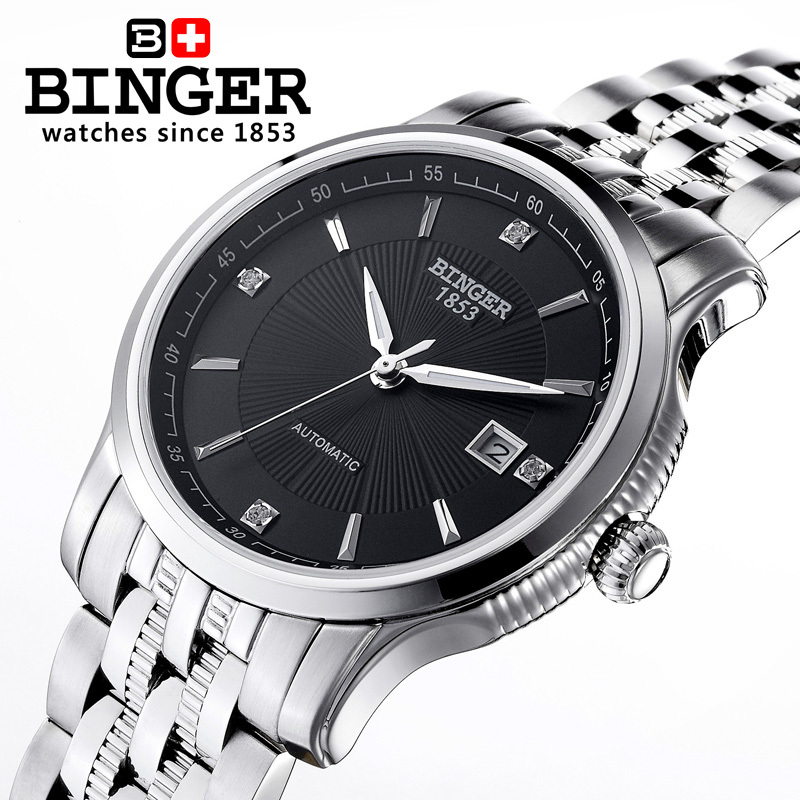 Switzerland BINGER men's watch luxury brand movement mechanical Wristwatches full stainless steel  BG-0405-2 relojes full stainless steel men s sprot watch black and white face vx42 movement