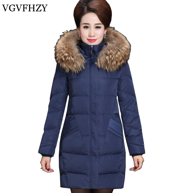 2017 Winter Middle-aged Mother White Duck Down Down Jacket Coat Medium Long Warm High Quality Down Jacke Plus Size 5XL LY657 high quality real fur female winter in the new middle aged down jacket women white duck down sundae feather thick coat l 5xl