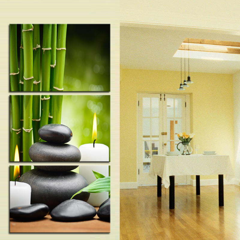 Bamboo Green Pictures with SPA Zen Stone Candles Print on Canvas ...