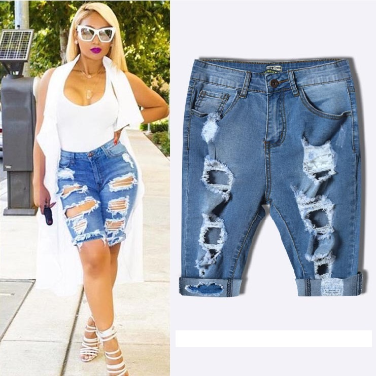 b7dbd5f4576 New Knee Length Denim Shorts Women Vintage Short Jeans Ripped Distressed  High Waist Shorts Femme Oversized Plus Size Dnim Pants-in Jeans from  Women s ...