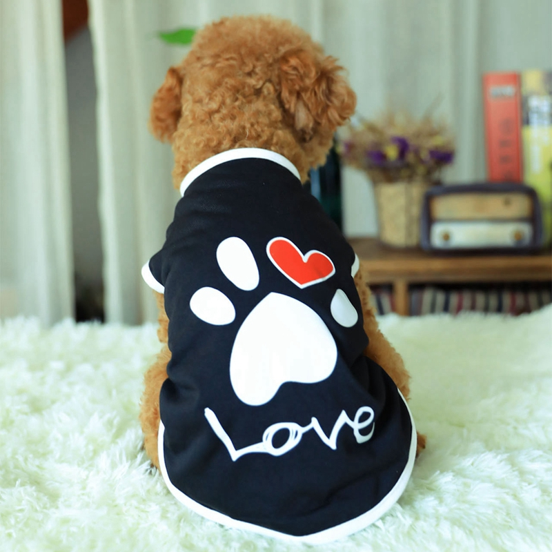 Summer Cotton Vest Dog Cat Dogs T Shirt Clothes with Paw Printed Heart Love Design Coat Pet Puppy Apparel Clothing