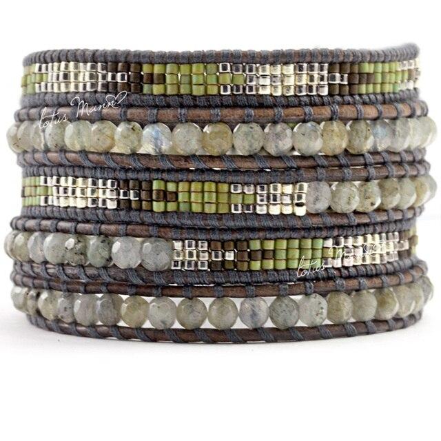 Lotus mann labradorite parquet Army Green knitted 5 wrap self-shade bracelet
