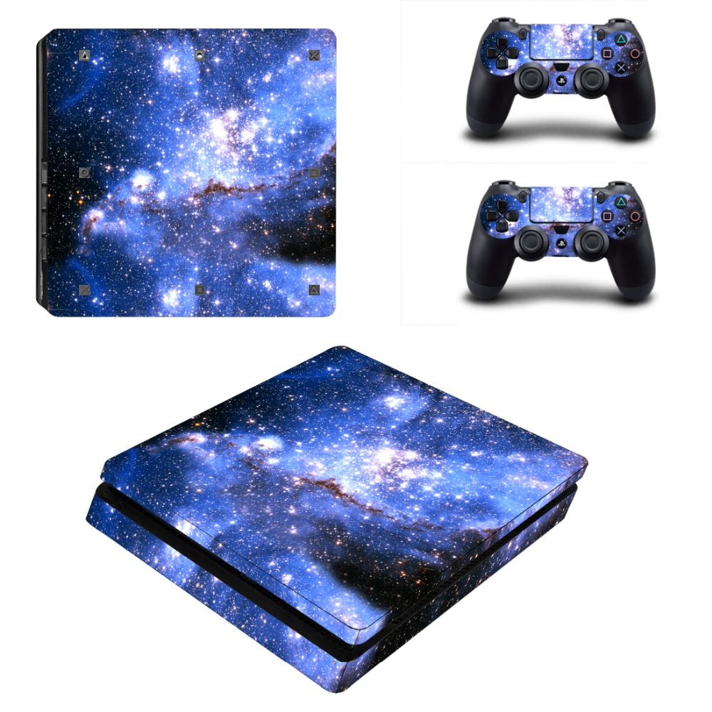 Nebula Star Clouds Vinyl Skin Sticker For PS4 Slim Console with 2 Controllers Decal For Sony PlayStation 4 Protective Cover