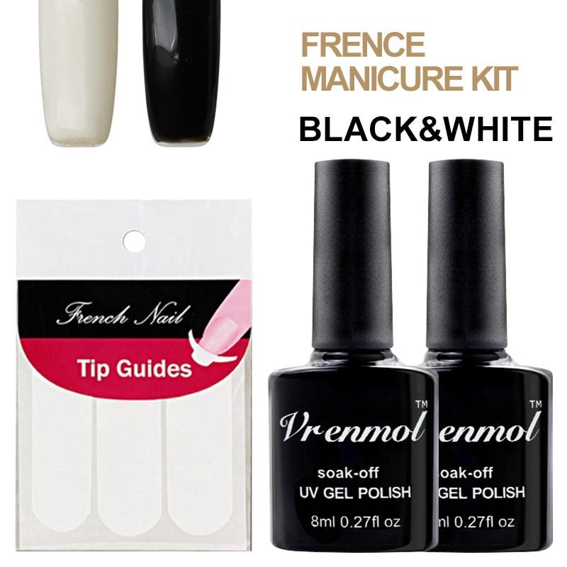 Black Gel Nail Polish: Vrenmol White+black Color UV Gel Nail Polish Soak Off UV