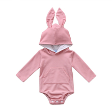 Baby Warm Bunny Ear Romper Autumn Winter Infant Rabbit Style Jumpsuit 2017 New Bebes Baby Boy Girl Hooded Cotton Hot Romper 0-2Y