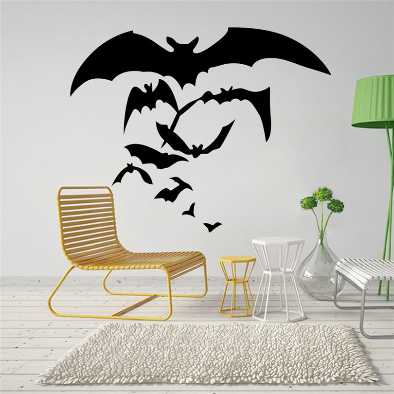 2017 halloween theme 3d wall stickes horror bats halloween bedroom decoration pvc diy party decoration home decal children room - Halloween Wall Decoration