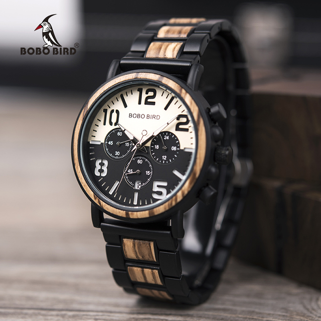 BOBO BIRD Wooden Stainless Steel Watch Men Water Resistant Timepieces Chronograp