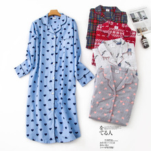 Shuchan Sleepwear Night Dress Women Print Pijama 2019 New Cotton Loose Long Summer With Sleeve Blue White Gray