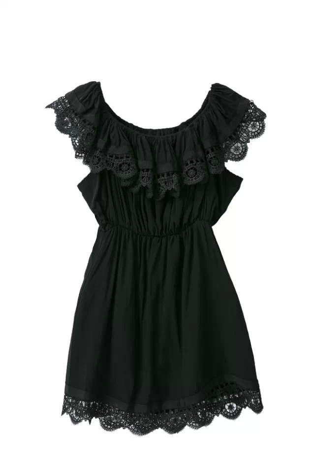 Elegant Vintage Sweet Lace Slash Neck Beach Dress 1