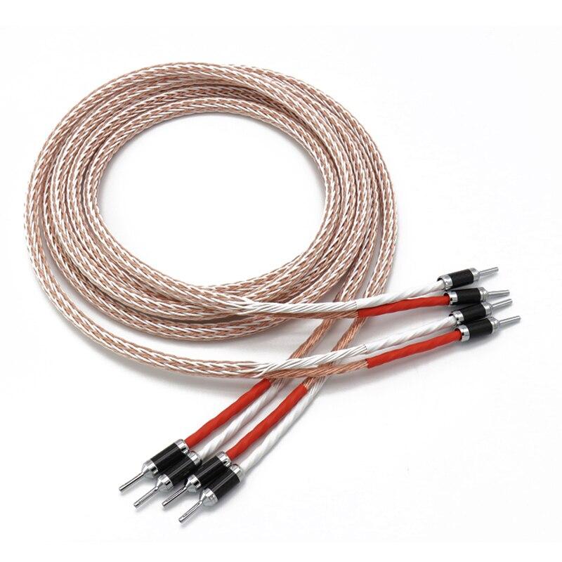 Livraison gratuite paire Moonsaudio 8TC câble multi-torsion OCC câble haut-parleur en cuivre pur avec connecteur banane en fibre de carbone