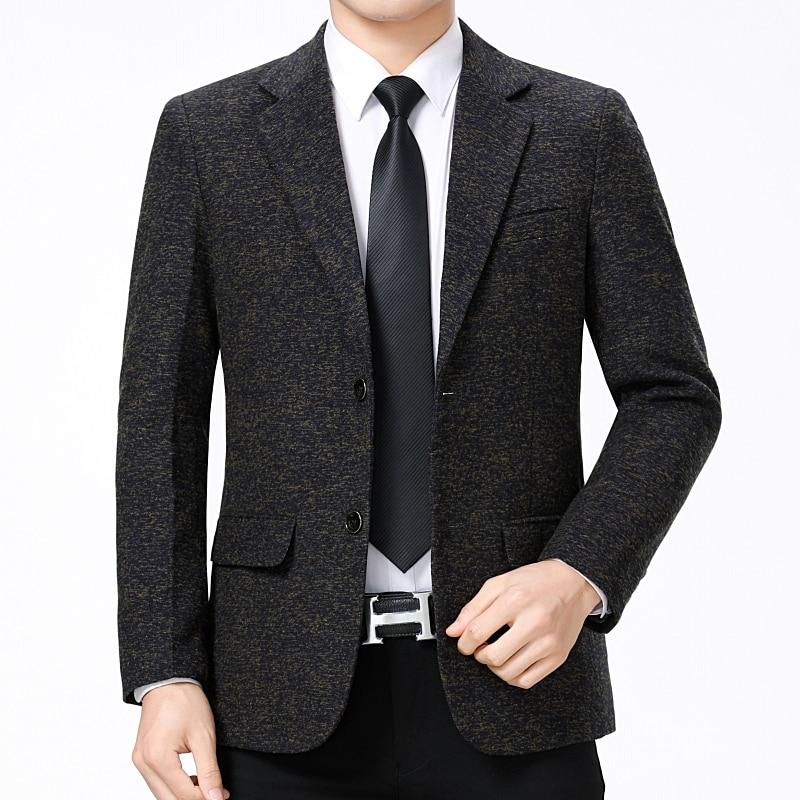 WAEOLSA Elegant Men Blazers Slim Fit Suit Coats Plain Color Costume Black Gray Soild Blazer Hombre Blends Suit Jackets Male 2019