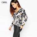 ORMELL Women Elegant Floral Chiffon Blouses Vintage V Neck Long Sleeve Blusa Feminina Work Style Shirts Casual Slim Brand Tops