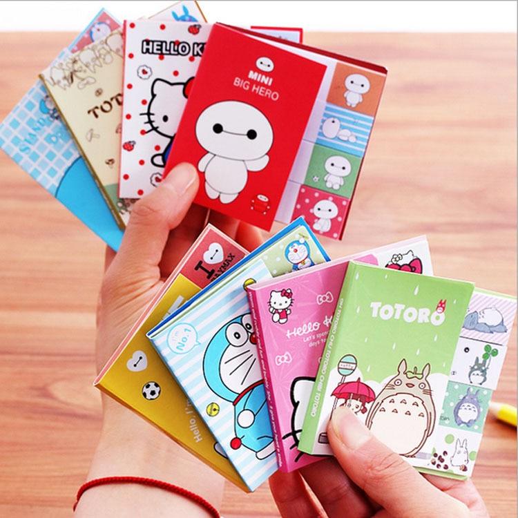 2 PCS Cute Cartoon Totoro Hello Kitty Doraemon Baymax Self-adhesive Memo Pad Sticky Notes Post It Bookmark School Office Supply 1pc lot cute rabbit design memo pad office accessories memos sticky notes school stationery post it supplies tt 2766