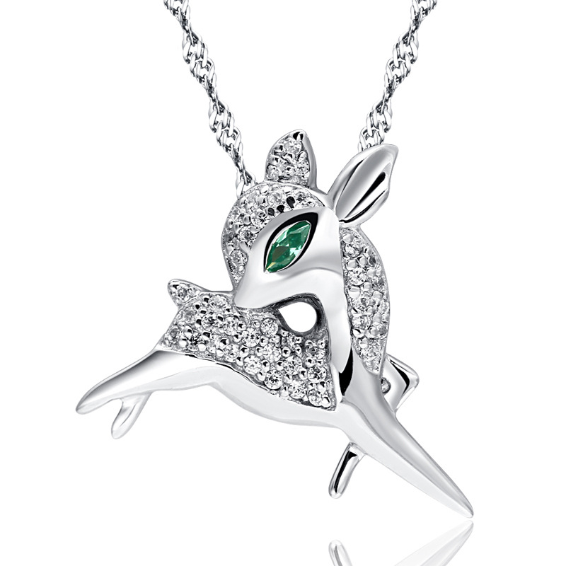 Fashion High Quality Exquisite Sika Deer Necklace Pendant S925 Silver Cross Pendant Christmas Deer Decoration Jewelry