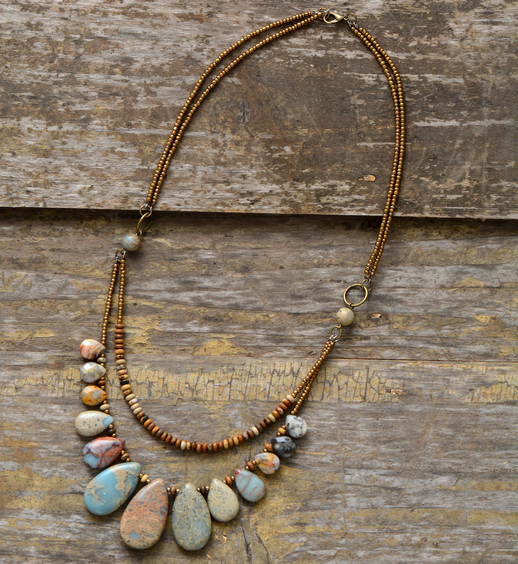Chokers Necklaces for Women Teardrop Natural Stones Seed Beads Short Statement Necklace Luxury Beaded Jewelry Dropshipping