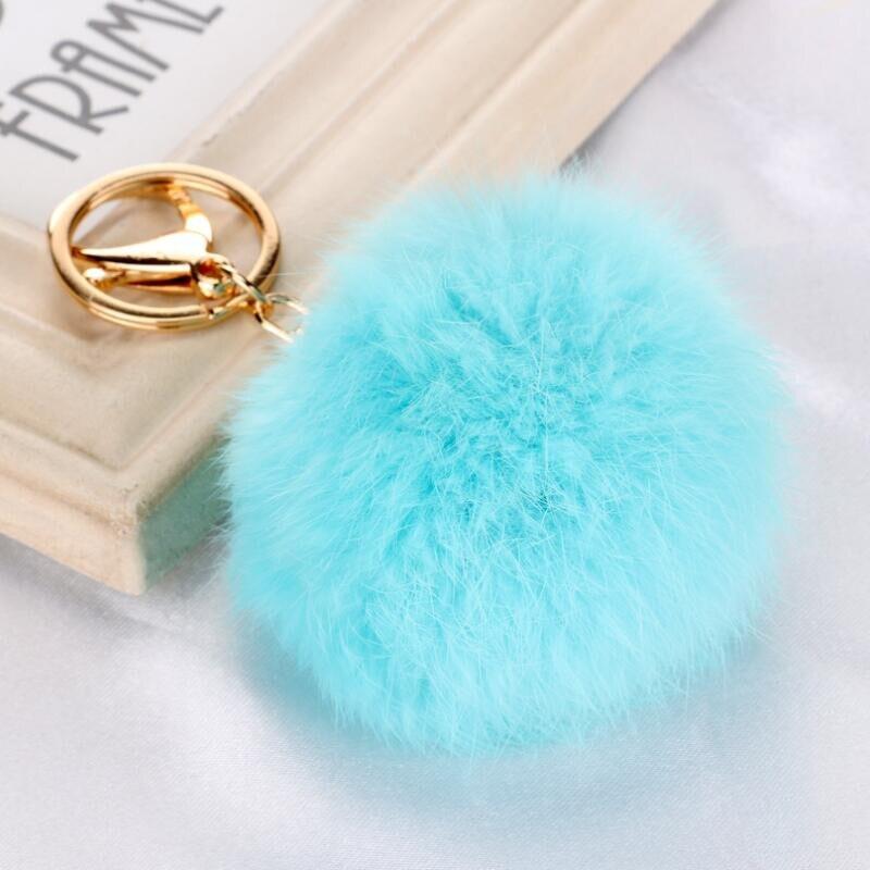 Fashion Phone Handbag Car Pompom Pendant Keychain Rabbit Fur Ball Key Ring