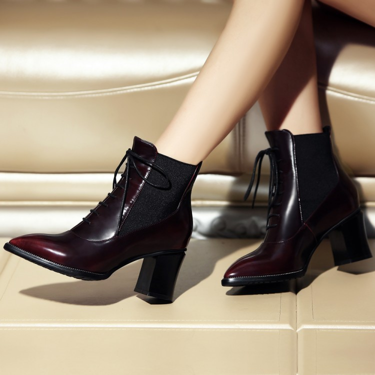 Women Spring Autumn Thick High Heel Genuine Leather Pointed Toe Lace Up Fashion Martin Ankle Boots Plus Size 34-42 SXQ0905