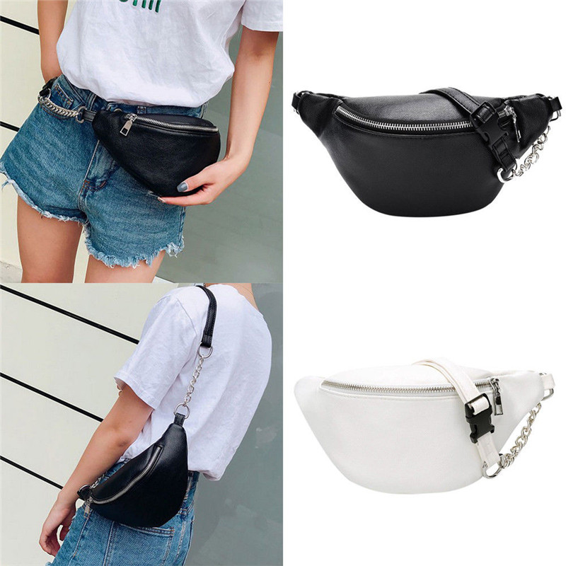 Casual Chain PU Leather Fanny Pack Waist Bag Casual Waterproof Antitheft Women Walking Shopping Band Belt Multi-function Bag