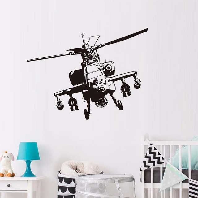 Black Vinyl Military Helicopter Aircraft Wall Sticker For Kids Room ...