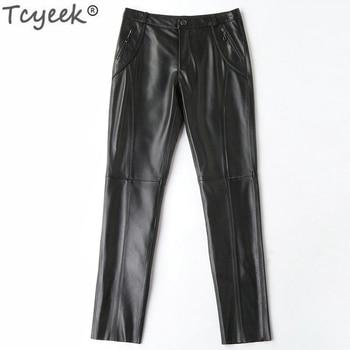 Genuine Leather Pants Women Real Sheepskin Long Trousers Plus Size Pants Black Slim Ladies Clothes Pantalon Femme WW012