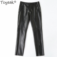 Genuine Leather Pants Women Real Sheepskin Long Trousers Plus Size Pants Black Slim Ladies Clothes Pantalon Femme WW012