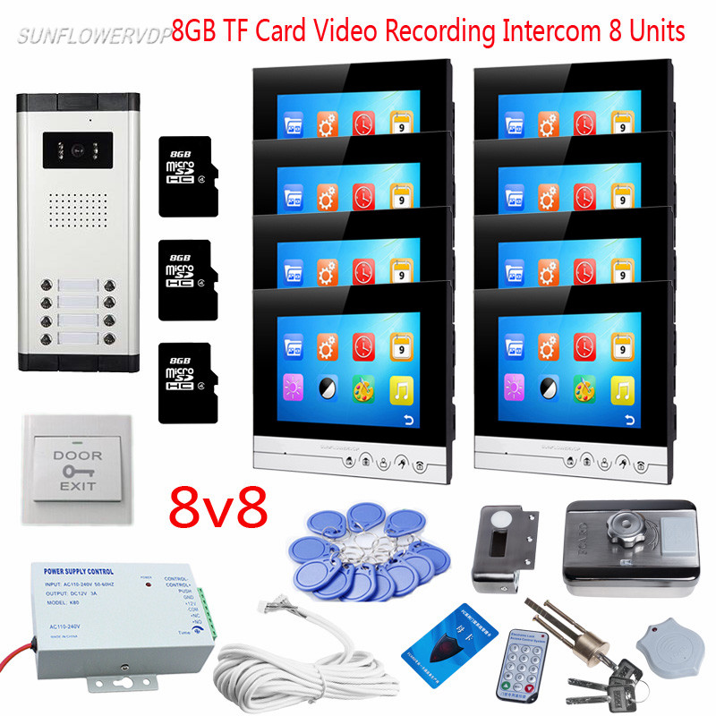 """Intercom Video Intercoms For 8 Apartments 8 Color 7"""" Touch Buttons Recording Monitors Video Eyes For The Door With Rfid Lock 8GB
